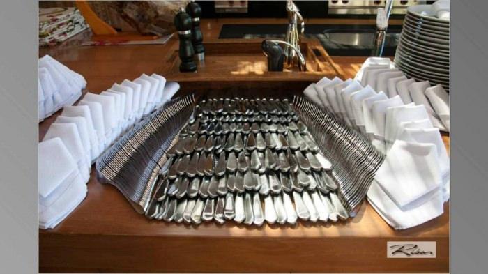Arrumação dos Talheres, Pratos e Guardanapos no Buffet